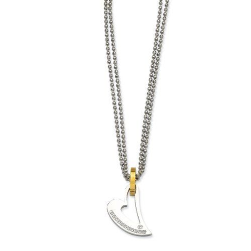Stainless Steel IPG 24k Plating Circle and Heart With CZs Necklace - 22 Inch - JewelryWeb JewelryWeb. $55.00