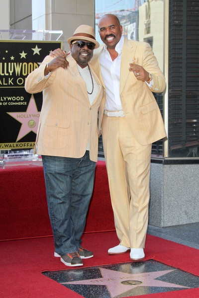 Cedric the Entertainer stand with Steve Harvey as he is Honored with a Star on the Hollywood Walk of Fame