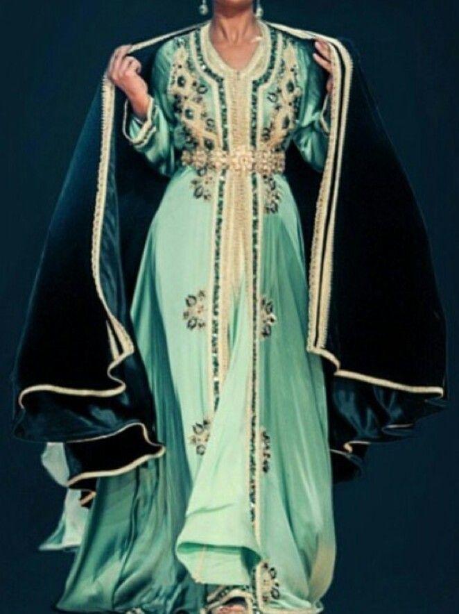 Beautiful Moroccan takchita with a Selham on the top (Moroccan version of the cape) #moroccancaftan#Morocco