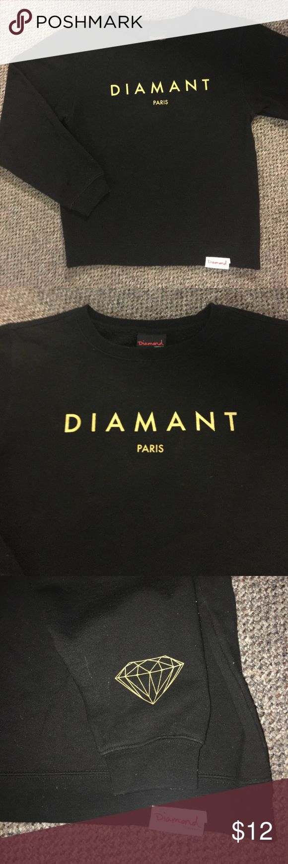 Diamond Supply Co. Sweatshirt Diamond Supply company Sweatshirt in black with gold text and diamond logo on left sleeve. Diamond Supply Co. Tops Sweatshirts & Hoodies