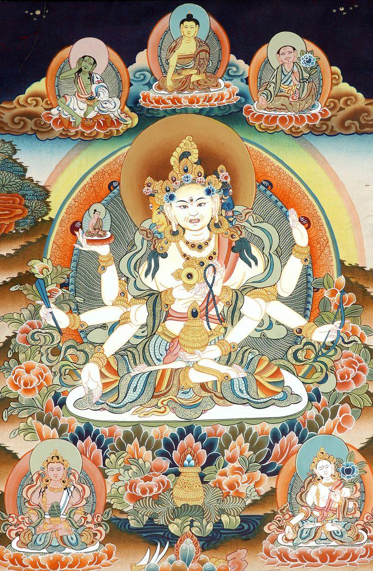 Goddess ushnishavijaya thangka paintings pinterest for Buddha mural paintings