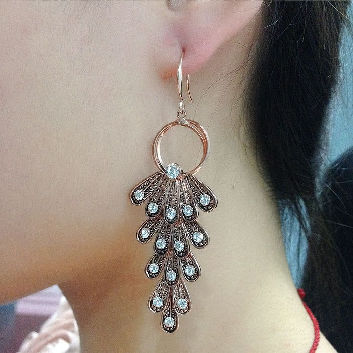 Auden Rhinestone Dangle/Drop Earrings Antique Gold Plated Feather Exquisite Vintage Jewelry