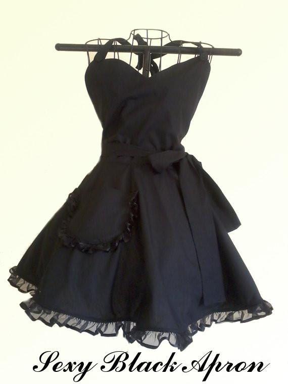 Black Retro Apron Classy Little Black Apron Circular Skirt by ArtsyCraftsyBoutique on Etsy