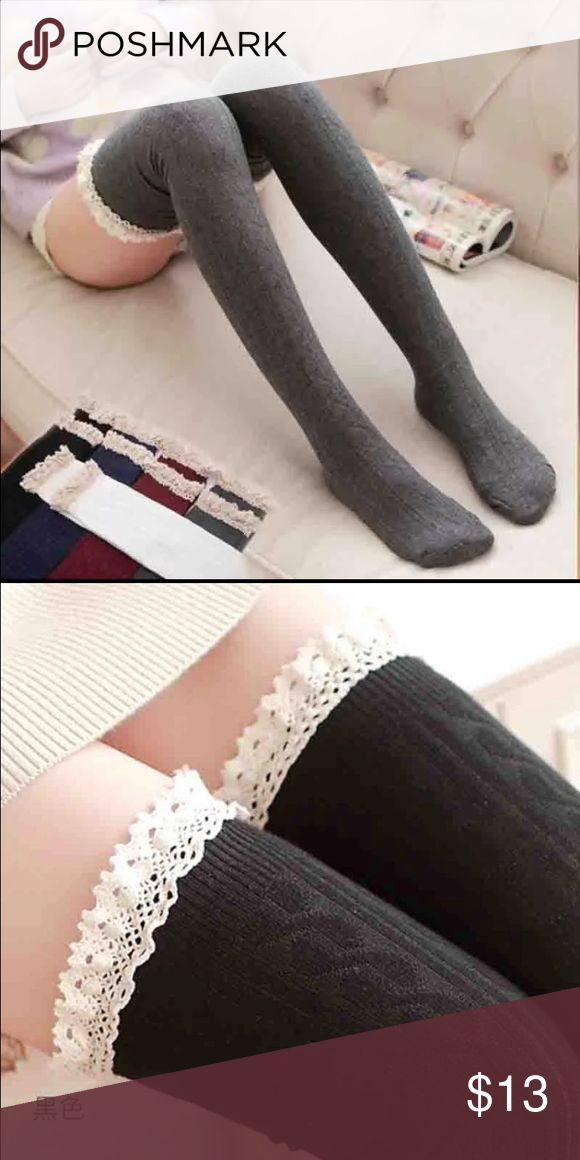 ✨Black Lace Trim Thigh High Socks✨ ✨Brand new cute and sexy black thigh high socks with white lace trimming at the top. Adorable and trendy. Soft and comfortable✨ NO TRADES. Not from FP Free People Accessories Hosiery & Socks