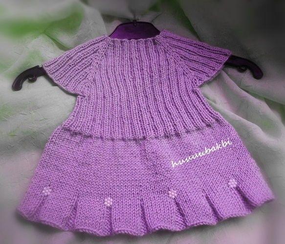 dikişsiz bebek elbisesi yakadan başlama