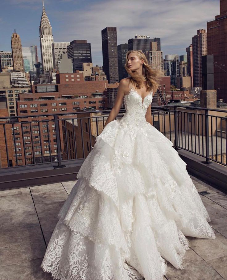 Pnina Tornai Ball Gown Wedding Dresses: Lace Ball Gown Tiered Lace Skirt Wedding Dress By Pnina