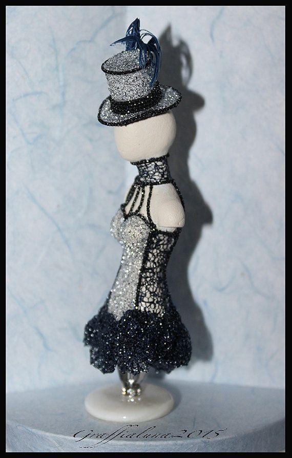 1:12 Costume Burlesque in tessuto argentato e pizzo by Graffialuna