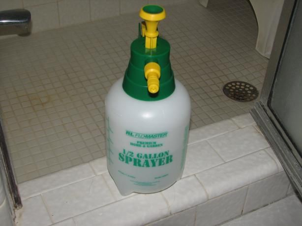 ½ cup bleach (Clorox preferred)  ½ gallon water  Spray this combo in the shower once a week and you won't see mold grow