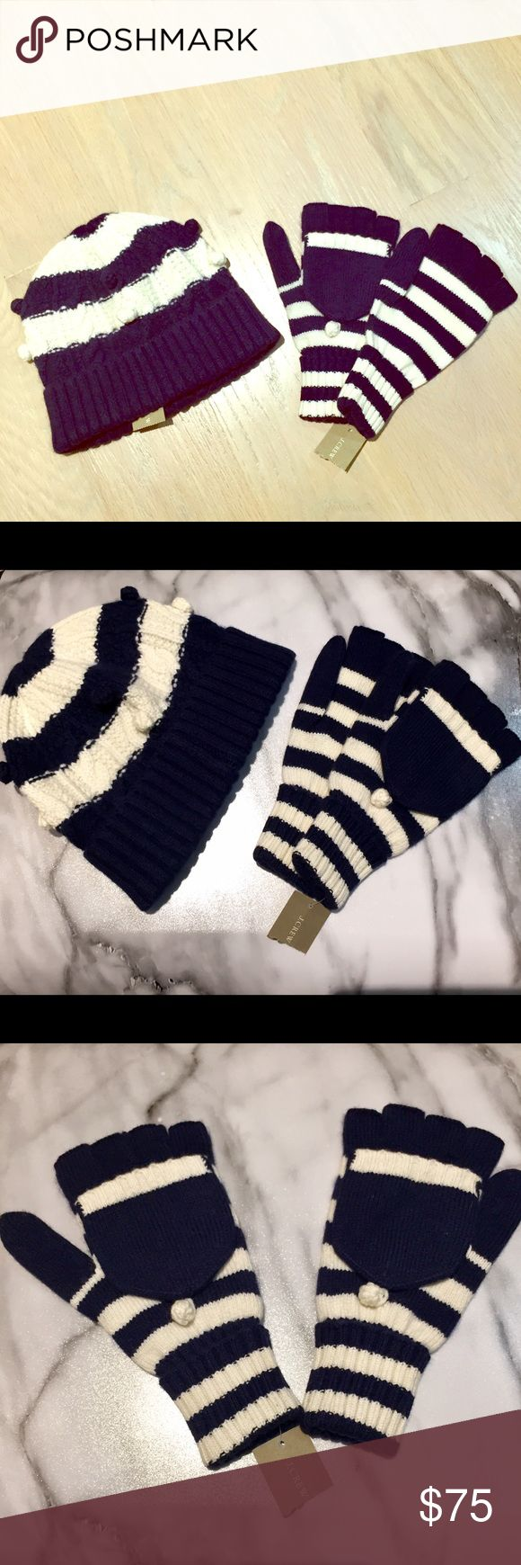 J Crew hat and glove mittens!NWT navy and white J.Crew matching beanie winter hat and glove mittens with flap! Both new with tags and navy blue and white in color! Purchase together or separate! Both are $75 and separate: beanie only is $45 and mittens are $35!! J. Crew Accessories Hats