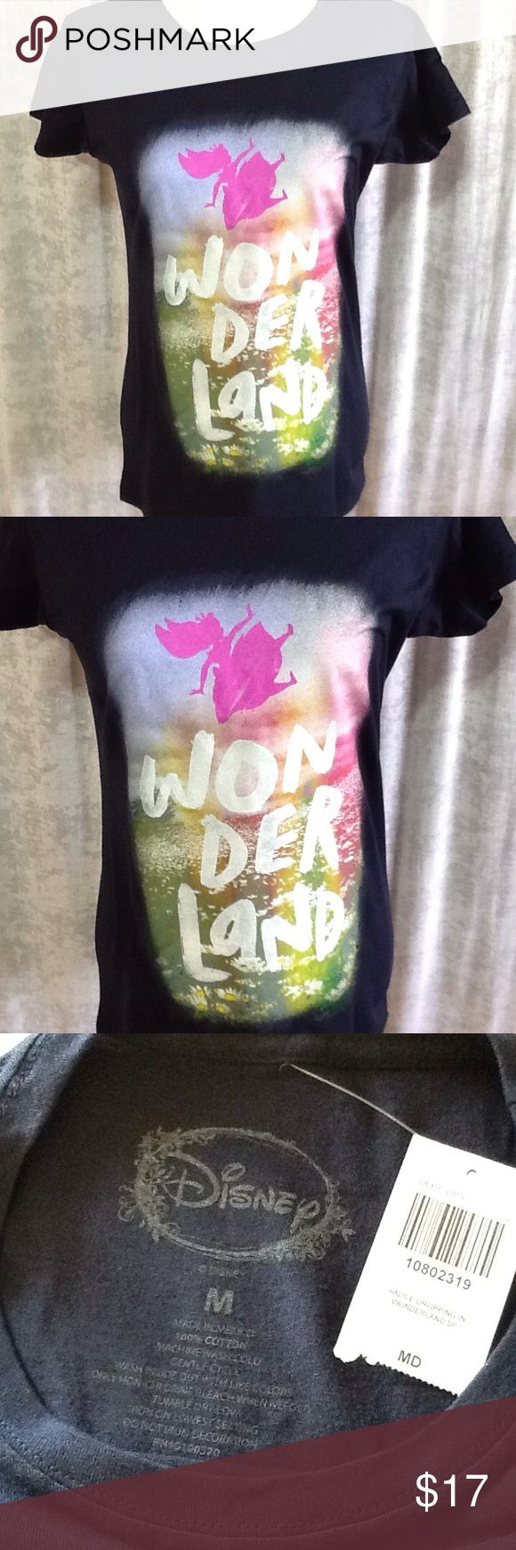 "NWT!  Disney Alice in Wonderland Falling T-Shirt Fitted navy tee from Disney's Alice in Wonderland with a ""Wonderland"" text design on front featuring a falling Alice silhouette design over a field of daisies. * 100% cotton * Wash cold; dry low * Imported NEW - NEVER WORN Disney Tops Tees - Short Sleeve"