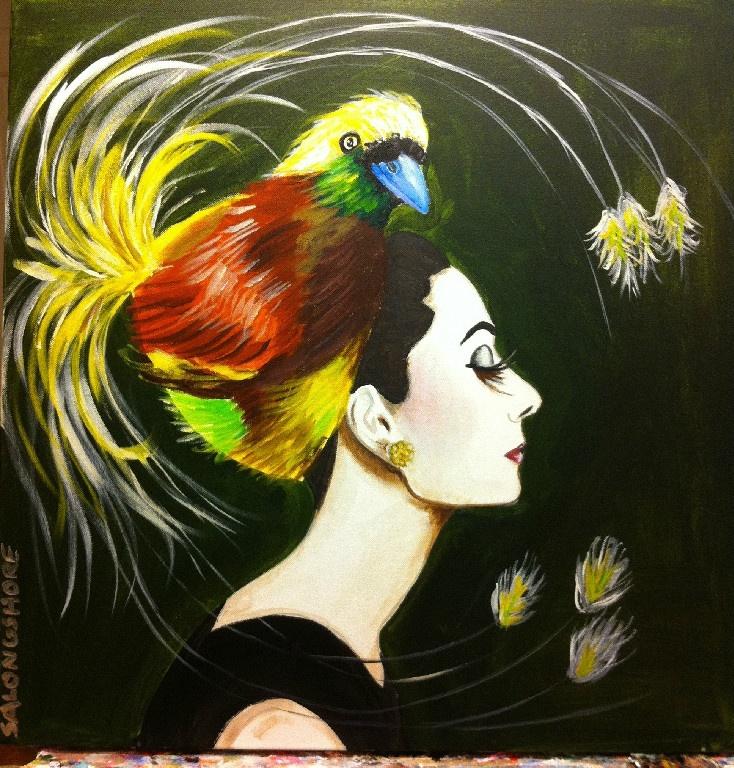 "Audrey Hepburn in 'Bird of Paradise"" 24""x24"" Sarah Ashley Longshore. Acrylic on Canvas with High Gloss Resin"