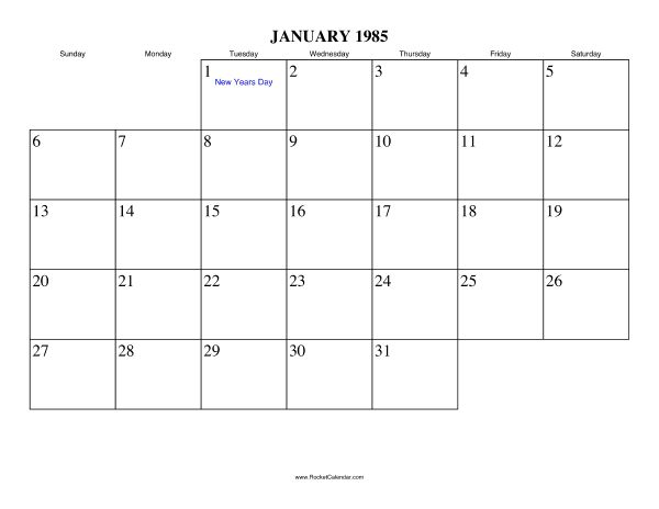 Free printable calendar for January 1985. View online or print in ...
