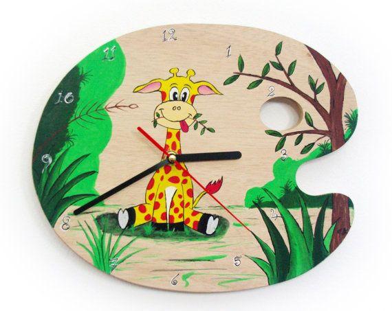 Wall Clock - Giraffe hand painted clock - Kids Clock - Wooden clock- Kids Bedroom - Baby Nursery decor- Little Boy - Little Girl.