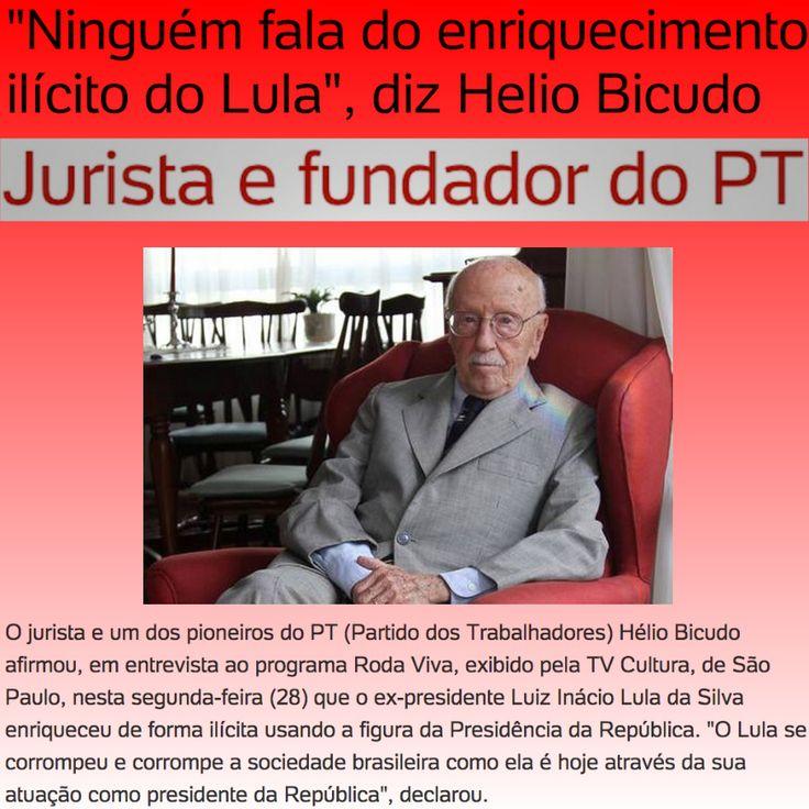 Ninguém fala do enriquecimento ilícito do Lula, diz Helio Bicudo ➤ http://noticias.uol.com.br/politica/ultimas-noticias/2015/09/29/lula-se-corrompeu-e-corrompe-a-sociedade-brasileira-afirma-helio-bicudo.htm ②⓪①⑤ ⓪⑨ ②⑨ #OPA