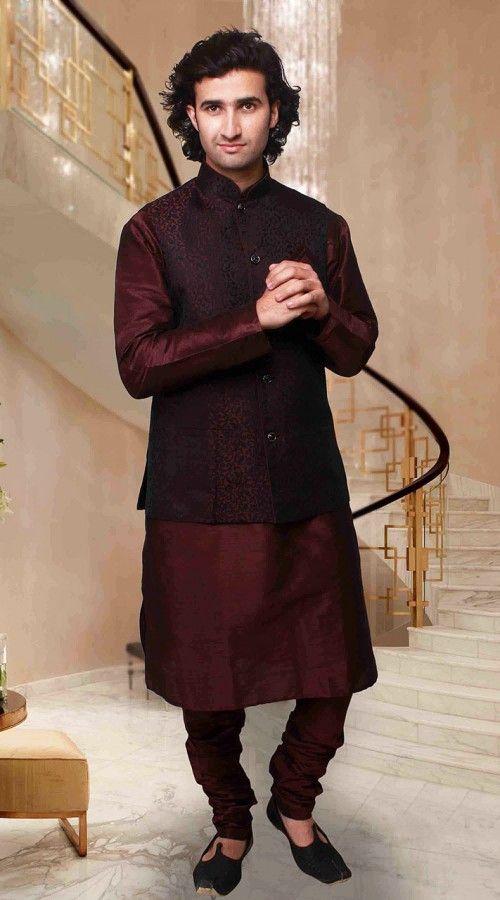 Flamboyant Wine Art Silk Nehru Waist Coat Style Kurta Pyjama