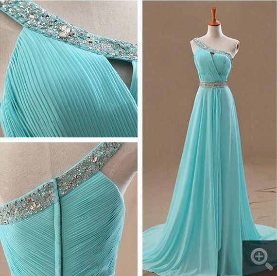 2014  A-Line Light Blue Long Formal  Evening Dress Chiffon One-Shoulder  Prom Dress with sequins