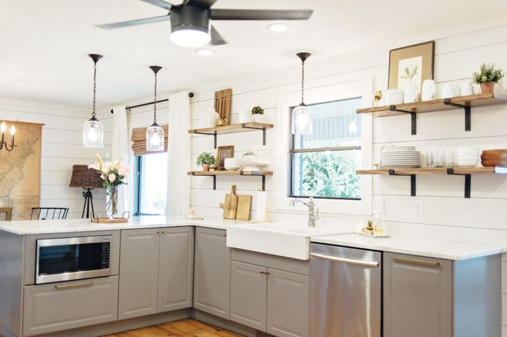 Ikea Bodbyn cabinets in kitchen remodel. IKEA farmhouse sink.