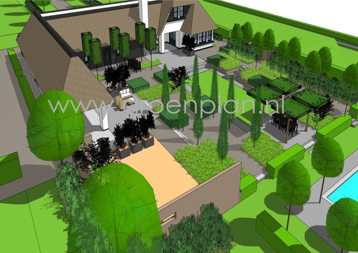 Moderne landelijke tuin bij eigentijds landhuis plans sketches pinterest - Eigentijds tuinmodel ...