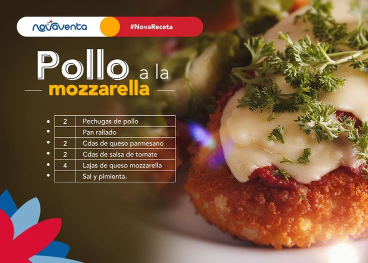 Recibes a tu familia con un rico plato: Pollo a la mozzarella. Ingredientes: en la imagen. Precalienta el horno a 200°. Forra una refractaria con papel aluminio. En un recipiente mezcla el pan rallado, el queso parmesano y salpimienta. Pasa las pechugas de pollo por la mezcla. Ponlas a hornear durante 40 minutos. Añade la salsa de tomate y las lajas de queso mozzarella. Hornea durante 5 minutos más.