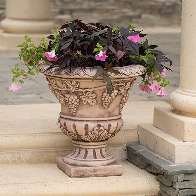 Great Deal Furniture Porta Light Brown Roman Urn Planter Review