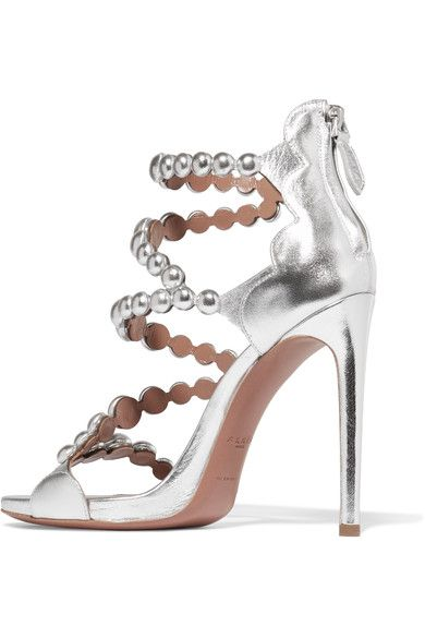 Alaïa - Laser-cut Metallic Leather Sandals - Silver - IT40