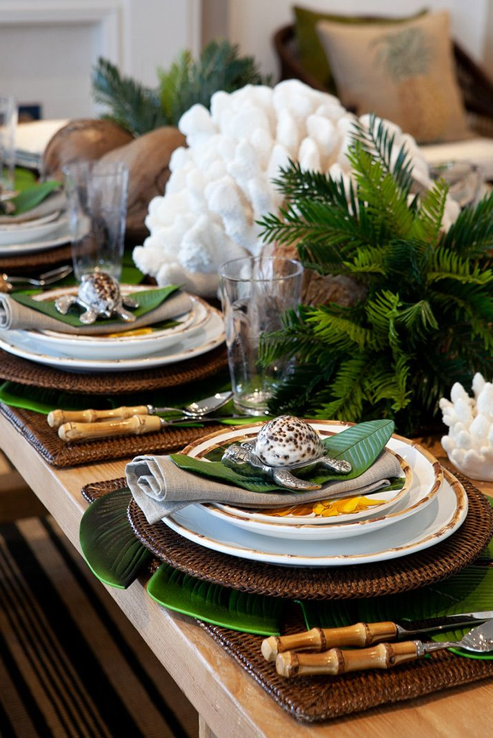 Close Up Of Tropical Table Setting