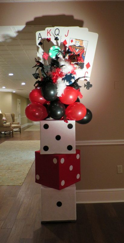 Casino Theme Party Decorations Ideas Part - 45: Using Boxes And Making Them Look Like Dice To Make Bold Entrace Casino  Themed Entrance Pillar. Made For Entrance To Casino Night Charity Function.