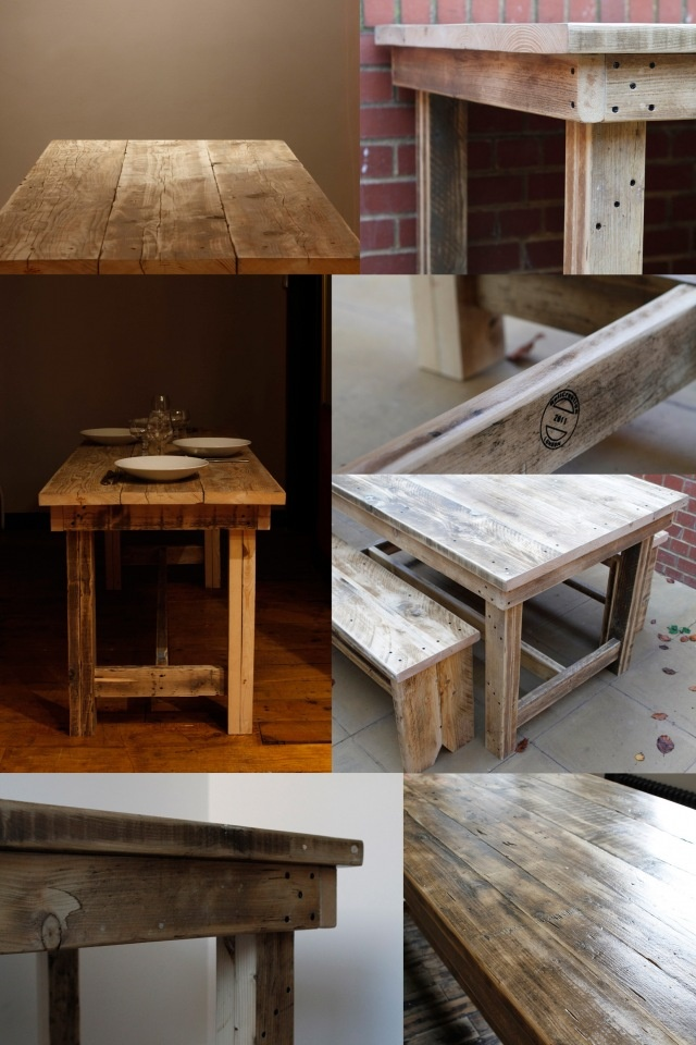 Solid reclaimed timber dining table or office desk