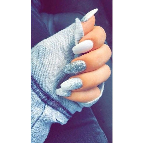 White And Silver Coffin Nails Liked On Polyvore Featuring Beauty Products And Nail Care Prom