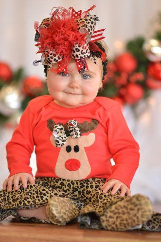 Christmas Leopard Reindeer Outfit Set-rudolph, christmas, holiday, cheetah, leopard, outfit, set, shirt, pants, bow, boutique, outfit, clothing, infant, baby, girl