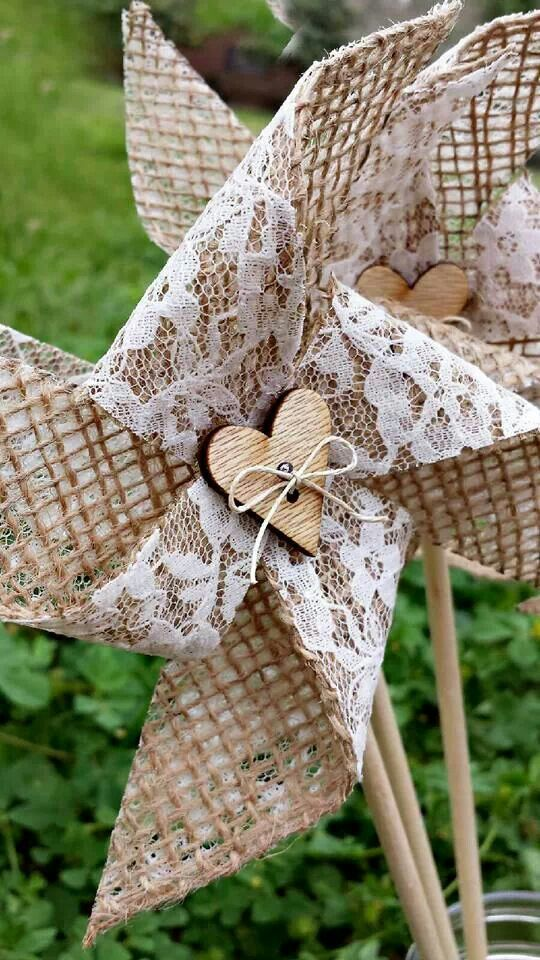 Pinwheels - Handmade, burlap, lace, heart, bow tie, birthday party, bridal shower, baby shower, favors, decor, wedding, photo props, home decor, house, southern, rustic, country