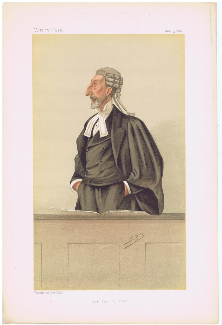 Date: 13-Mar-1886 The Vanity Fair Caricature of Mr. Henry Bodkin Poland With the caption of : For the Crown By the artist: SPY Visit www.theakston-thomas.co.uk for many more Vanity Fair Prints, we have one of the largest collections in the world.
