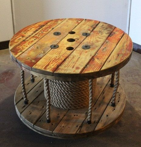 SPRING SALE // Up-cycled Cable Spool Coffee Table // Library // Storage via Etsy