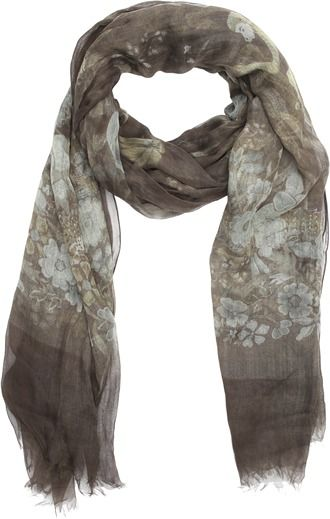 Gucci olive floral print cotton raw edge scarf