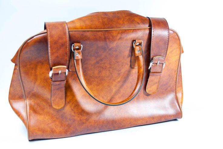 Vintage Duffel bag, LUGGAGE BAG, travel bag vintage, weekend bag, Large Brown Bag, Top Handle Bag, brown retro bag, imitation leather bag by VintageEuropeDesign on Etsy