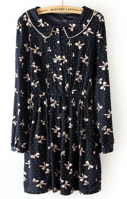 Black Elastic Waist Dogs Print Pleated Dress - Sheinside.com