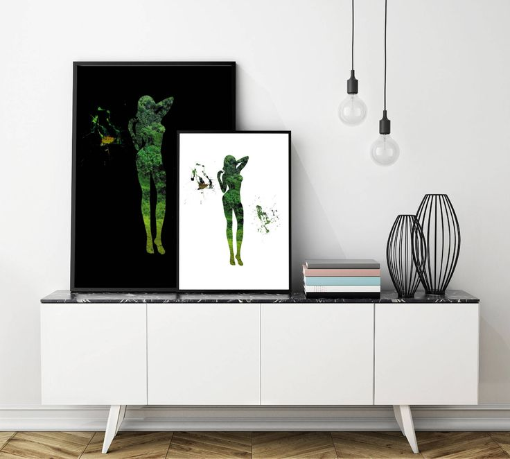 Green Nature Minimalist Silhouette Wall Art Printable by PlatinumRoom on Etsy