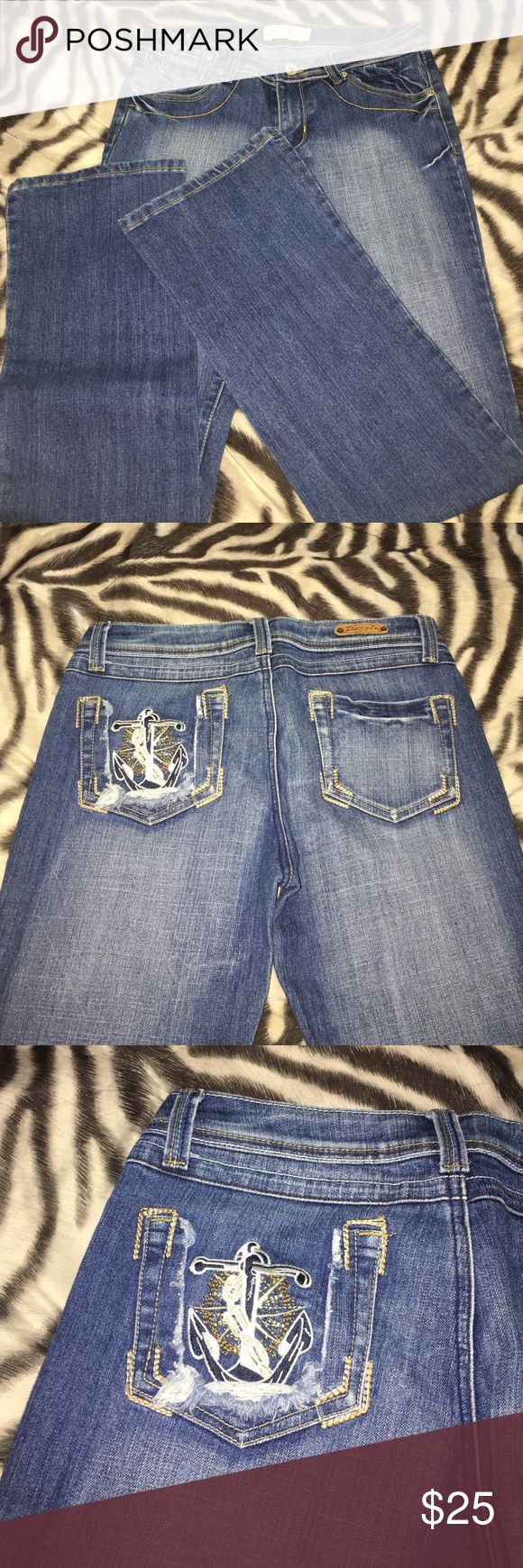 Cute Nautical Jeans Never worn! Too cute, I had a hard time parting with them! Boot cut with cute nautical detail on back left pocket Jeans Boot Cut