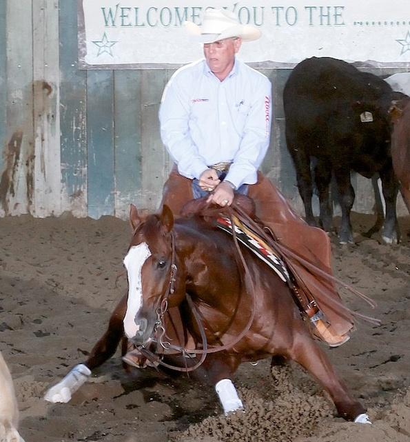Champion rider, Chubby Turner, on cutting horse, Dual R Smokin', NCHA photograph