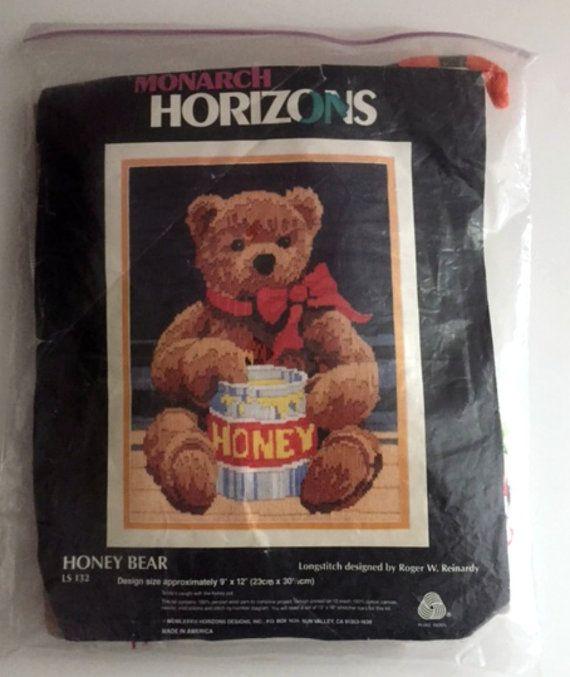 Honey Bear Longstitch Needlepoint Kit Partial Complete Horizons LS 132 Roger W Reinardy Vintage 1986