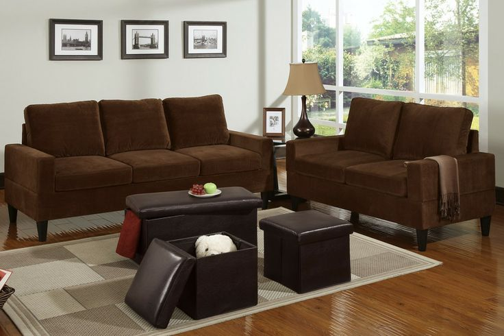 5-Pcs Living room - A strong design of classic structure, this matching loveseat and sofa set is adorned in a smoothly textured fabric. Each piece is constructed with squared seating and backrests to suit a traditional décor living space. Compliment this set with an espresso 3-piece ottoman set in three sizes with storage capabilities.