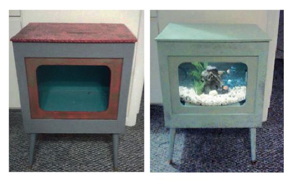 Tv stand to fish tank stand unique beach house furniture for Small fish tank stand
