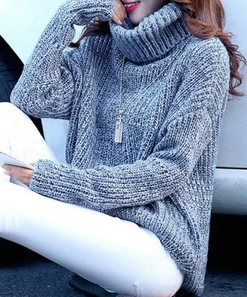 Stylish Turtleneck Long Sleeve High-Low Women's Sweater