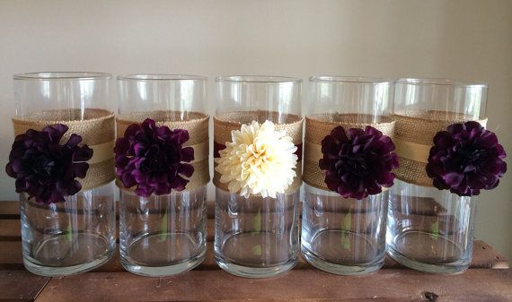 Rustic wedding decor, 5 rustic vases, centerpiece, candle holder, vase for bouquet, rustic wedding, country weding, shabby chic
