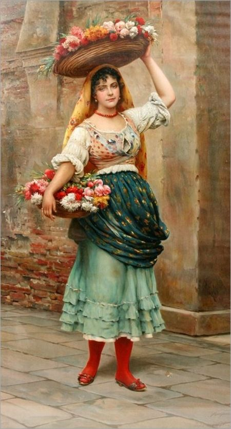 The Flower Vendor ~ Eugene De Blaas (Italian, 1843-1932)