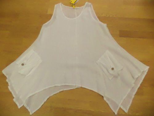 Hessian Linen Tunic Layering Top in White 100 Linen Lagenlook OSFA Hippy Boho | eBay