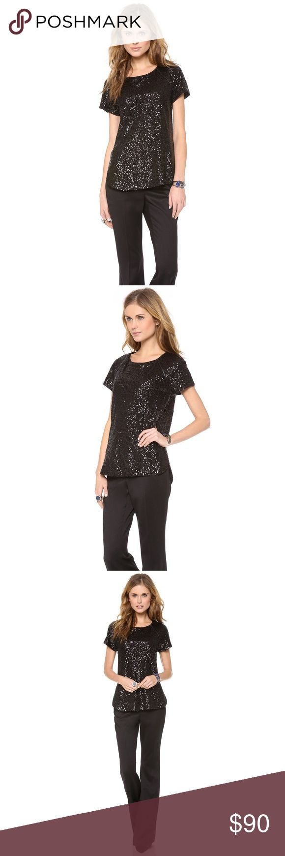 Rachel Zoe Cecile Sequin Blouse Dense sequins bring glamour to this Rachel Zoe blouse. Luxe leather piping trims the raglan seams. High peaks on a curved hem add a casual element. Short sleeves. Lined.  Fabric: Sequined mesh. Shell: 100% polyester. Trim: 100% lambskin. Dry clean. Like new!!!! MEASUREMENTS: Length: 26in / 66cm, from shoulder Rachel Zoe Tops Blouses