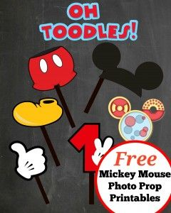 Free Mickey Mouse Photo Props to download and print at home - by Cake Crusaders Blog.com