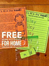 Name Activities for Kindergarten