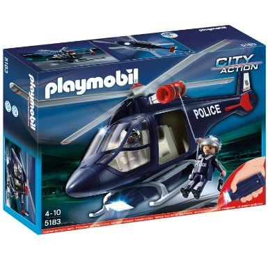 Playmobil 5183 Police Helicopter with Led Spotlight: Amazon.co.uk: Toys & Games